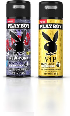 Playboy Newyork + Vip Deodorant Spray  -  For Men(300 ml, Pack of 2)  available at flipkart for Rs.398