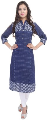 BluePocket Self Design Women Straight Kurta(Blue)