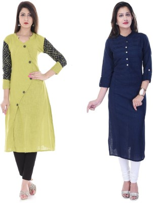 Stylum Casual Printed Women Kurti(Pack of 2, Green, Dark Blue)