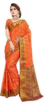 159cad8052 40% OFF on Taanshi Self Design Kanjivaram Silk Saree(Orange) on ...