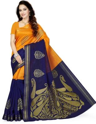 Ishin Paisley, Woven Bollywood Art Silk Saree(Dark Blue, Mustard)