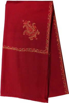 MATELCO Wool Embroidered Women Shawl(Maroon)