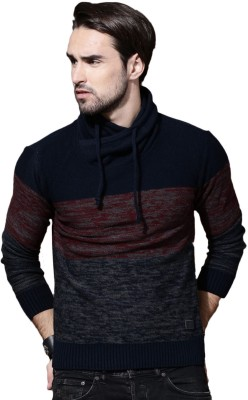 Roadster Self Design Cowl Neck Casual Men Dark Blue, Grey Sweater