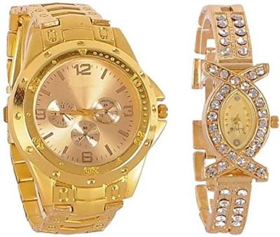 Maan International R-1312 Golden Couple Analogue Watch  - For Couple   Watches  (Maan International)