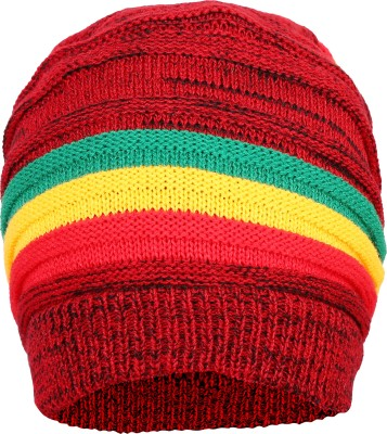 FabSeasons Self Design Unisex Red Acrylic Woolen Slouchy Beanie and Skull Cap for Winters Cap