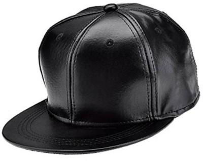 Hiken Solid Black Leather Snapback HipHop Cap