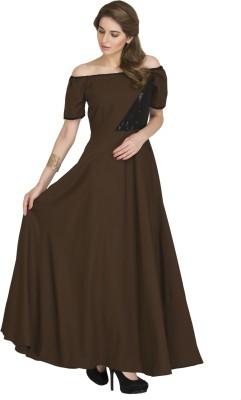 Raas Pret Women Maxi Brown, Black Dress