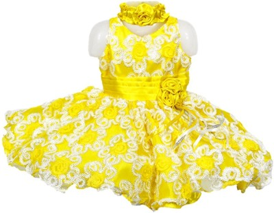 Firozee Dresses Flared Gown(Yellow, Multicolor)