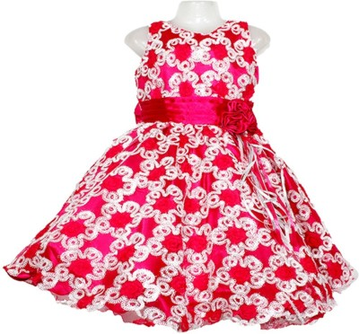 Firozee Dresses Flared Gown(Pink, White)