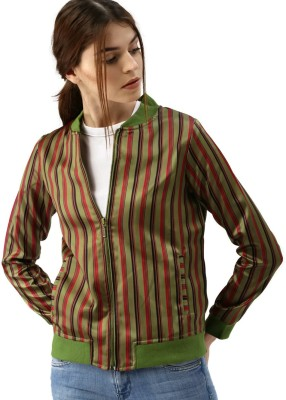 All About You Full Sleeve Striped Women Jacket at flipkart