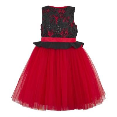 Toy Balloon Kids Girls Mini/Short Party Dress(Red, Sleeveless)
