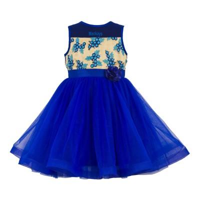 Toy Balloon Kids Girls Mini/Short Party Dress(Blue, Sleeveless)