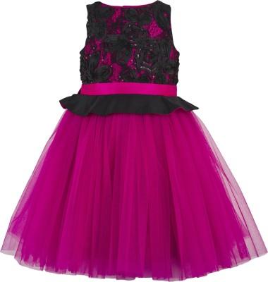Toy Balloon Kids Girls Mini/Short Party Dress(Pink, Sleeveless)
