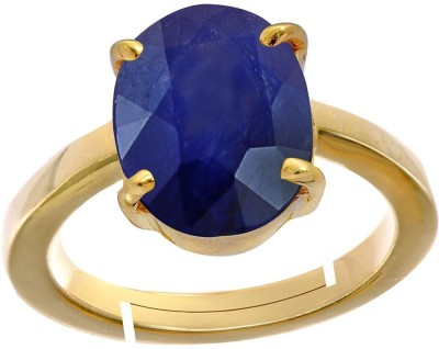 AJ 11.25 Ratti Natural Blue sapphire (Neelam) Adjustable ring Copper Sapphire Copper Plated Ring at flipkart