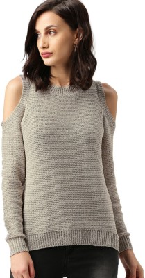 All About You Self Design Round Neck Casual Women Grey Sweater at flipkart