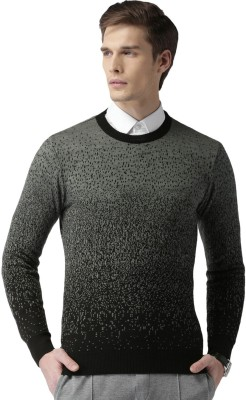 Invictus Self Design Round Neck Casual Men Grey Sweater at flipkart
