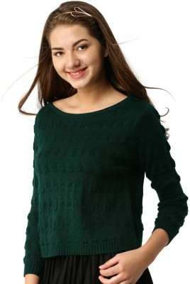 ether Self Design Round Neck Casual Women Green Sweater