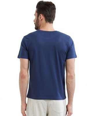 Wear Your Opinion Solid Men's Round Neck Dark Blue T-Shirt