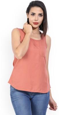Vero Moda Casual Sleeveless Solid Women Orange Top