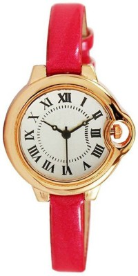 Talgo New Arrival Festive Season Special Off-White Colour Round Dial pink High Quality Genuine Leather Strap Party Wedding Watch   Casual Watch   Formal Watch   Fashion Wrist Analog Watch  - For Girls