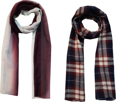 D Fashion Checkered Poly Cotton Women's Scarf, Stole