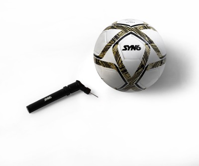 SYN6 Excellent quality MATCH Football along with pump, Size 5, Hand Stitched Ball Laminated with 3 layers of Polyester Cotton. Football - Size: 5(Pack of 1, White)