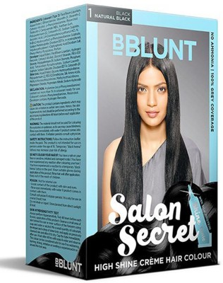 BBlunt Salon Secret High Shine Cream Hair Colour Hair Color(Natural Black)
