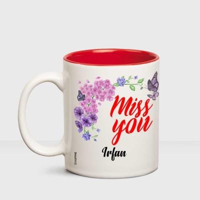 Huppme I Miss You Irfan Inner red mug Ceramic Mug(350 ml)