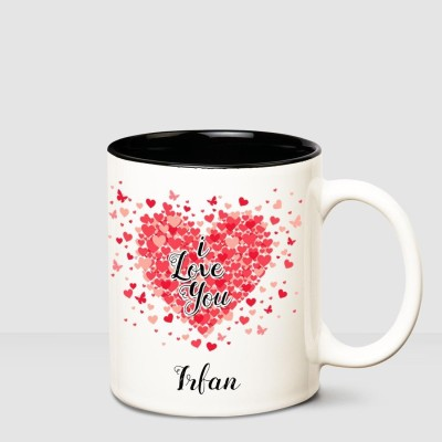 Huppme I love you Irfan Inner Black romantic coffee name mug Ceramic Mug(350 ml)