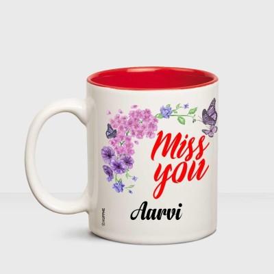 Huppme Happy Birthday Aarvi Printed Coffee White Ceramic Mug(350 ml)