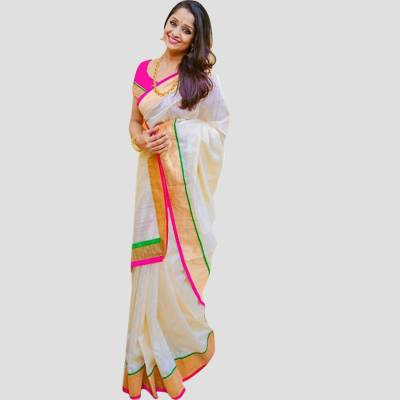 BAPS Self Design, Applique, Solid, Embellished Mysore Cotton Saree