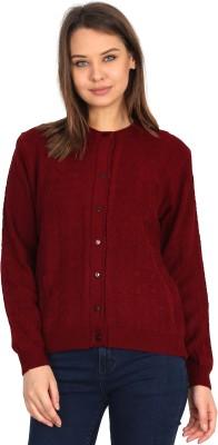 Urban Studio Self Design Round Neck Casual Women Maroon Sweater
