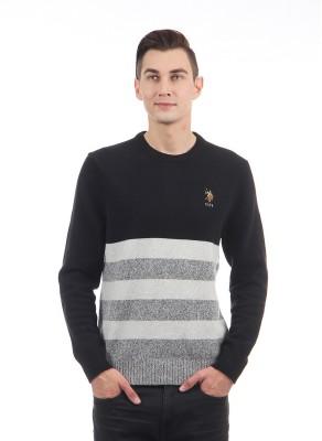 U.S. Polo Assn Striped Round Neck Casual Men Black Sweater at flipkart