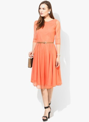 TAANI FASHION Women Fit and Flare Orange Dress