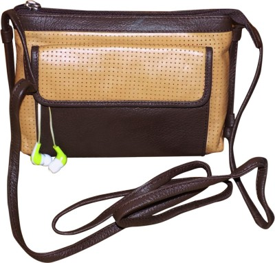 Style 98 Women Casual Brown Genuine Leather Sling Bag