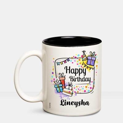 Huppme Happy Birthday Lineysha Inner Black coffee name mug Ceramic Mug(350 ml)