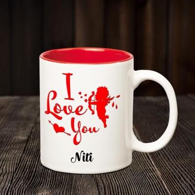 Chanakya I Love you Niti romantic inner red coffee name mug Ceramic Mug(350 ml)  available at flipkart for Rs.352