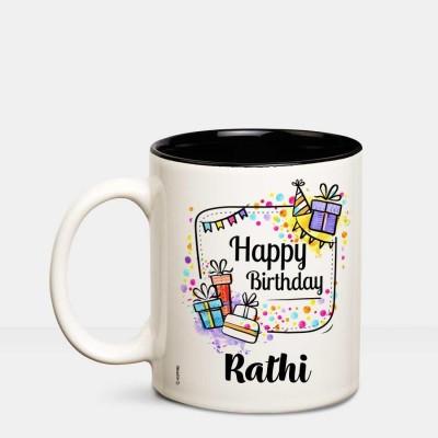 Huppme Happy Birthday Rathi Inner Black coffee name mug Ceramic Mug(350 ml)