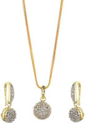 khushiyan Khushiyan Fashion Jewellery AD, American Diamond Zircon Pendant Set For Girls 23K Yellow Gold Diamond Yellow Gold Pendant Set
