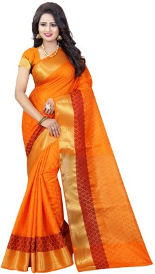 INDIAN BEAUTIFUL Self Design Banarasi Cotton Silk Saree(Multicolor) at flipkart