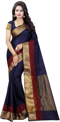 INDIAN BEAUTIFUL Self Design Banarasi Cotton Silk Saree(Dark Blue)