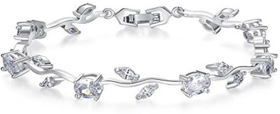 Yellow Chimes Metal Crystal Silver Bracelet at flipkart