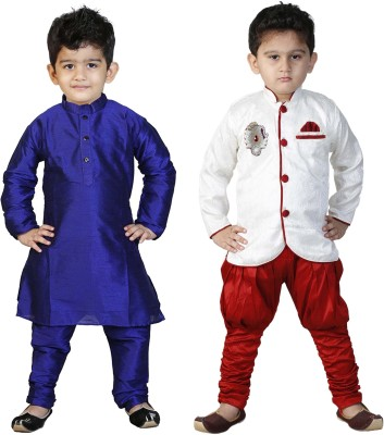 FTC FASHIONS Boys Festive & Party Kurta and Pyjama Set(Blue Pack of 2) Flipkart