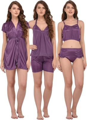 You Forever Women Solid Purple Top & Shorts Set