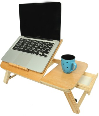 Table Mate II Wooden Adjustable Study Working Computer Bedmate Designer Folding Home Office Mate Engineered Wood Portable Laptop Table(Finish Color - Brown)