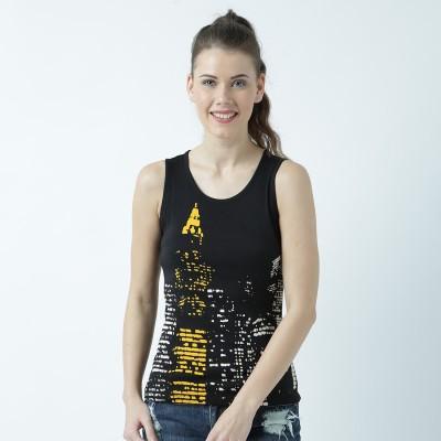 Huetrap Casual Sleeveless Graphic Print Women Black Top