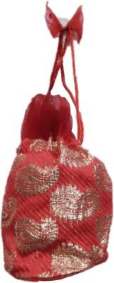 Shreeji Decoration Fancy Design Handmade Silk Potli Batwa Pouch Bag Gift For Women Potli(Red)  available at flipkart for Rs.90