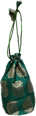 Shreeji Decoration Fancy Design Handmade Silk Potli Batwa Pouch Bag Gift For Women Potli(Green)  available at flipkart for Rs.90