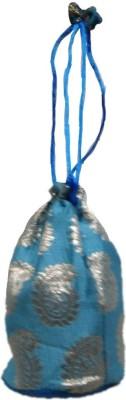 Shreeji Decoration Fancy Design Handmade Silk Potli Batwa Pouch Bag Gift For Women Potli(Blue)  available at flipkart for Rs.90