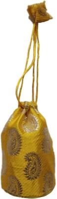Shreeji Decoration Fancy Design Handmade Silk Potli Batwa Pouch Bag Gift For Women Potli(Yellow)  available at flipkart for Rs.90
